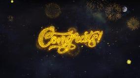 Congrats 2 souhaits des textes indiquent de la carte de voeux de particules de feu d'artifice illustration libre de droits