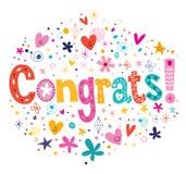 Congrats-Typografie, die dekoratives Textkartendesign beschriftet Lizenzfreie Stockfotos