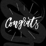 Congrats Vector Phrase Lettering Calligraphy Brush Black Chalkboard. Congrats Vector Phrase Lettering Calligraphy Brush Black Text Chalkboard vector illustration