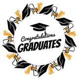 Congratsgediplomeerden om banner met studenten accessorises stock illustratie
