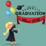 Congratsklasse van de vlakke kleurrijke affiche van 2018 Gelukkig glimlachend meisje die in toga met diploma de vectorillustratie Royalty-vrije Stock Afbeeldingen