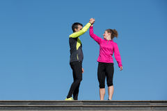 Congratulate and happy to finish morning workout Royalty Free Stock Photos