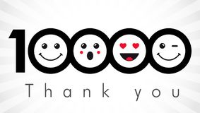 Thank you 10000 followers numbers. Congratulating black and white thanks, image for net friends in two 2 colors, customers 10 000 likes, % percent off discount Stock Photography