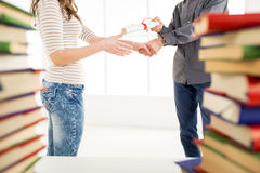 Congratulating for graduation. Royalty Free Stock Images