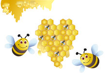 Congratulating on the honeymoon of newlyweds. Two bees with a heart from honey honeycombs with little bees royalty free illustration