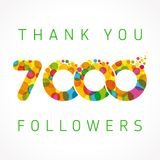 Thank you 7000 followers numbers. Congratulating multicolored thanks image for net friends or customers likes, % percent off discount, blockchain business Royalty Free Illustration