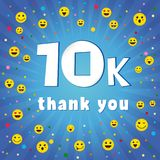 Thank you 10000k followers logo. Congratulating online thanks, image for net friends, customers 10 000 likes. Isolated sign, graphic elements. Blue colour Royalty Free Stock Photography