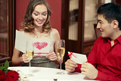 Congratulating with Valentine's Day Royalty Free Stock Photography