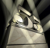 Congratulation 55. Number 55 in silver letters on a silver pedestal with ornaments in sunbeams royalty free illustration