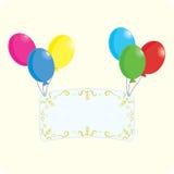 Congratulation. Art postcard and balloons, illustration Stock Photos