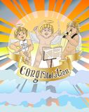 Congratulation with 3 Angle to playing musical have fun Stock Image