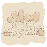 Congratulation with balloons Royalty Free Stock Photo
