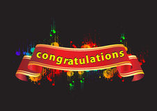 """Congratulations banner. A colorful illustration with a banner and the text """"congratulations&#x22 Royalty Free Stock Photo"""