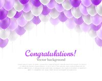 Congratulation banner violet flying balloons Royalty Free Stock Photos