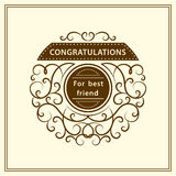 Congratulation for best friend. Stylish typographic poster design in cute style. Graceful template for print. Monogram elements, C Royalty Free Stock Image