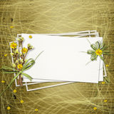 Congratulation with bunch of flowers. Card for invitation or congratulation with bunch of flowers and twigs Stock Photos
