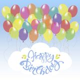 Congratulation card with blue lettering Happy Birthday on white, bright ballons Stock Images
