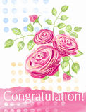 Congratulation card with bouquet of roses and polka dots pattern. Royalty Free Stock Image