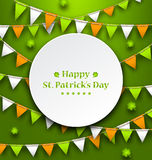 Congratulation Card with Bunting Hanging Pennants in Irish Colors Royalty Free Stock Photo