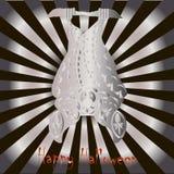 Congratulation card Happy Halloween. Stylized ornamental silver bat on silver rises background Stock Photos