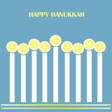Congratulation card Happy  Hanukkah. White glowing candles, yellow tipping on blue background Stock Image
