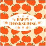 Congratulation card Happy Thanksgiving on orange pumpkins background Stock Photography
