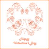Congratulation card Happy Valentine`s Day, red sketch of loving birds, stylized heart  Stock Images