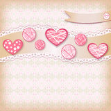 Congratulation card with hearts. Stock Images