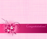 Congratulation card with hibiscus flowers Stock Photo