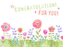 Congratulation card with meadow flowers on a white background. Stock Image