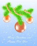 Congratulation card Merry Christmas and Happy New Year Stock Photos