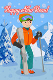 Congratulation card new year with man on the mountain by ski equipped. Smiling happy skier. Flat design vector illustration of young man from the mountain by Stock Photography