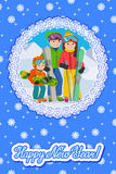 Congratulation card new year with man, woman, boy, skiing in snow mountain. Family winter sport vector illustration Stock Images