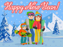 Congratulation card new year with man, woman, boy, skiing in snow mountain. Family winter sport vector illustration Royalty Free Stock Photos