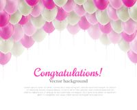 Congratulation card pink flying balls background above Stock Photos