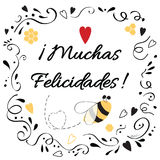 Congratulation design element with text congratulate title in Spanish Royalty Free Stock Photos