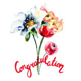 Congratulation floral card Royalty Free Stock Images