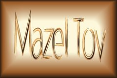 Congratulation Gold Mazel Tov letter. Card for the wedding ceremony of the orthodox Judaist with gold, congratulation Mazel Tov Stock Photo