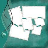 Congratulation green card with sheets for design Stock Photos