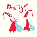 Congratulation hand draw card lettering Happy New Year cute fairy gnomes Royalty Free Stock Photography