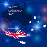 Congratulation Happy Australia Day with map and flag. Congratulation Happy Australia Day with map and flag on blue  background. Vector illustration for prints Royalty Free Stock Photography