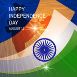 Congratulation Happy Independence Day with map and flag India. Congratulation Happy Independence Day with map and flag India on blue  background. Vector Royalty Free Stock Image