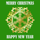 Congratulation Happy New Year and Merry Christmas. Gold snowflakes. Congratulation Happy New Year and Merry Christmas. Gold snowflake. Postcard. Vector Image Royalty Free Stock Images
