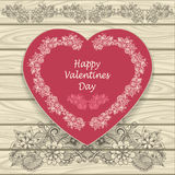 Congratulation Happy Valentines  Day  with heat and  doodle floral elements Stock Image