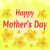 Congratulation on holiday Mother`s Day. Yellow floral background Stock Photos