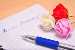 Congratulation letter to mum Royalty Free Stock Images