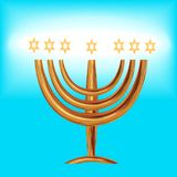 Congratulation Menorah, Magen David stars. Card for orthodox Judaist with gold, congratulation Mazel Tov, Menorah, Magen David stars gold on blue background Royalty Free Stock Photos