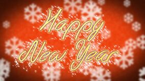 Congratulation message Happy New Year on winter themed background, greeting. Stock footage stock video footage