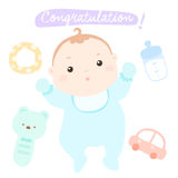 Congratulation new adorable baby boy  Royalty Free Stock Photos
