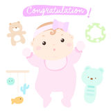 Congratulation new adorable baby girl  Royalty Free Stock Photos
